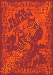 black sabbath, Ozzy Osbourne, Tony Iommi, Ronnie James Dio,poster,manifesto,affiche,concert,gentle giant,argent,knoxville,usa,1973