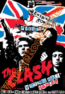 clash,joe strummer,Mick Jones, Paul Simonon, Topper, Nick Headon, punk, emo, rock in the cashba, sandinista, new punk, poster, affiche, vintage rock poster, ,Hanley, Victoria Hall,uk, british punk