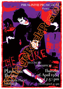 cure,dark,gothic,emo,punk,new wave, Robert Smith, Reeves Gabrels, Jason Cooper,close to me,poster,vintage rock posters,siouxie and the banshees,lullaby,disintegration,edinburgh,playhouse theatre,1984