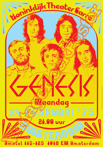 genesis, Phil Collins, Peter Gabriel, Steve Hackett, Mike Rutherford,genesis poster,Ray Wilson,I can't dance,Invisible Touch,classic rock,british rock,west palm beach,amsterdam, holland, 1975