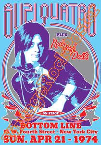 suzi quatro,glam rock,rock n roll,suzi quatro poster,detroit,quattrocchio,pop rock,rock poster,cradle,if you knew suzi,happy days,barnaby,affiche glam,