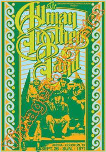 Gregg Allman, Derek Trucks, Butch Trucks,allman brothers band,allman,brothers,poster,manifesto,locandina,affiche,karte,cartel,cartaz,vintage rock poster,Houston Arena,Texas,1971