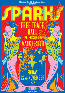 sparks,Ron Mael, Russell Mael, Earle Mankey, Martin Gordon, James Mankey, Tammy Glover, Harley Feinstein, Adrian Fisher,los angeles,american pop, sparks poster,sparks affiche,sparks locandina,new wave