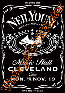 crosby, still, nash & young,neil young,guitar,chitarrista,chitarra,harvest moon,jack daniels,cleveland music hall,neil young poster,