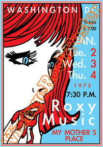roxy music, Bryan Ferry, Brian Eno, Phil Manzanera, Andy Mackay,glam rock, glam music, roxy music poster,bryan ferry poster,my mother's place,spin me round,country life,for your pleasure,siren,flesh a