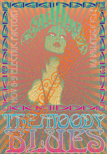 moody blues,moody blues poster,Justin Hayward, John Lodge, Graeme Edge, Julie Ragins,psychedelic rock,psichedelia,rock music,classic rock,vintage rock posters,philadelphia,usa,concert,live show