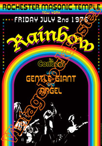 rainbow, Ritchie Blackmore, Ronnie James Dio, Joe Lynn Turner,dio,poster,rainbow poster,gentle giant,angel,rochester masonic temple,new york, usa, 1976