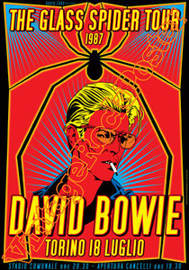 david bowie, ziggy stardust,bowie,glam rock, velvet goldmine, vintage rock posters, poster, torino,italy,glass spider tour