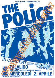 police, Sting, Stewart Copeland, Andy Summers, Henry Padovani,police poster,cramps,palalido,milano,new york, concert, live show,lexington,torino