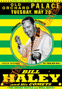 bill haley,50s,american music, classic rock,poster, bill haley poster,bill haley concert,live show,comets,old orchard palace ballroom,affiche,manifesto,orchestra,trumpet