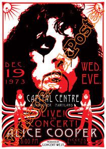 alice cooper,concert,poster,vintage rock poster,cartaz,cartel,affiche,karte,manifesto,locandina,landover,capital centre,live concert,1973
