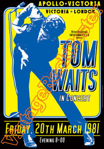 tom waits,american rock,indie,indipendent,hindie,hold on,concert,tom waits poster,tom waits concert,live show,victoria london,apollo,downtown train