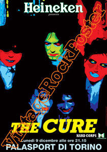 cure,dark,gothic,emo,punk,new wave, Robert Smith, Reeves Gabrels, Jason Cooper,close to me,poster,vintage rock posters,siouxie and the banshees,lullaby,disintegration,palasport, torino,italy,hard corp