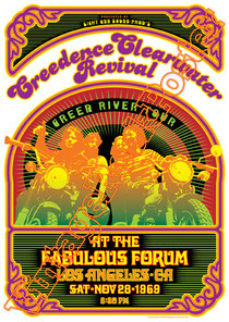 creedence clearwater revival, John Fogerty, Tom Fogerty, Doug Clifford, Stu Cook,poster,vintage rock poster, manifesto, locandina,los angeles,1969, fabulous forum, california