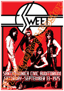 the sweet,sweet poster,sweet band,glam rock,uk glam,rock n roll,Peter Lincoln, Bruce Bisland, Richie Onori, Joe Retta,the sweet concert,live show,70s,london,birmingham,sunderland,merlbournee