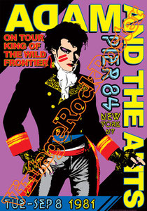 adam ant,adam and the ants, glam,punk,king of the wild frontier,new york, concert, poster, vintage rock poster, uk, pop,make up,corsair