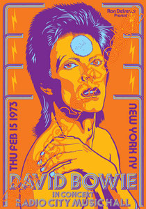 david bowie, ziggy stardust,bowie,glam rock, velvet goldmine, vintage rock posters, poster, new york, 1973, life on mars