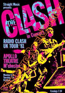 clash,joe strummer,Mick Jones, Paul Simonon, Topper, Nick Headon, punk, emo, rock in the cashba, sandinista, new punk, poster, affiche, vintage rock poster, radio clash uk tour 81,apollo theatre
