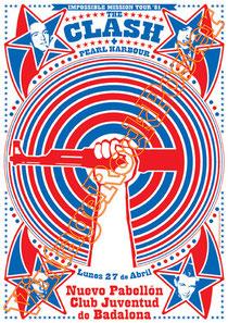 clash,joe strummer,Mick Jones, Paul Simonon, Topper, Nick Headon, punk, emo, rock in the cashba, sandinista, new punk, poster, affiche, vintage rock poster, pearl harbour,barcellona, barcelona, spain,