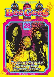 bee gess, Barry Gibb, Robin Gibb, Maurice Gibb, Colin Petersen,poster,concert,affiche,cartaz,cartel,tarrant county,1979