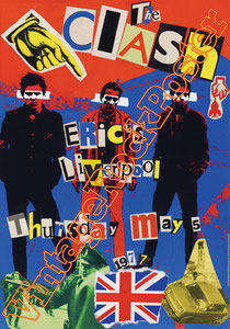 clash,joe strummer,Mick Jones, Paul Simonon, Topper, Nick Headon, punk, emo, rock in the cashba, sandinista, new punk, poster, affiche, vintage rock poster, liverpool,1977,concerto