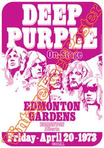 deep purple,Ian Gillan, Rod Evans, David Coverdale, Joe Lynn Turner, classic rock, psychedelic, psichedelia, rock,american , british rock, dark,gothic,concert,poster,edmonton gardens,1973