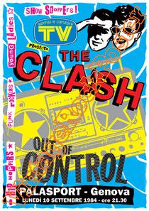 clash,joe strummer,Mick Jones, Paul Simonon, Topper, Nick Headon, punk, emo, rock in the cashba, sandinista, new punk, poster, affiche, vintage rock poster, genova,italy,palasport,italian tour
