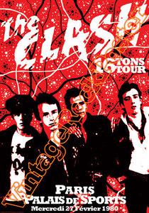clash,joe strummer,Mick Jones, Paul Simonon, Topper, Nick Headon, punk, emo, rock in the cashba, sandinista, new punk, poster, affiche, vintage rock poster, Parigi, paris, france, 1980, 16 tons tour