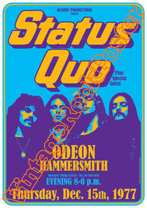 status quo, status quo poster,Francis Rossi, Rick Parfitt, John Edwards, Andy Bown,in the army now,whatever you want,caroline,odeon hammersmith london,london,uk,great britain,poster,vintage rock poste