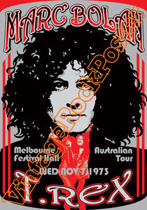 marc bolan,t rex, glam rock, rock n roll, 70s, poster, affiche, vintage rock posters, manifesto,malbourne,1973,australia,festival hall