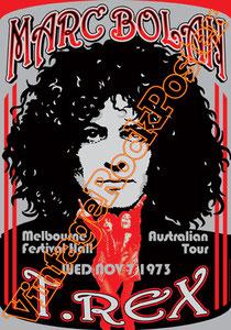 marc bolan,t rex, glam rock, rock n roll, 70s, poster, affiche, vintage rock posters, manifesto,malbourne,1973,australia,festival hall