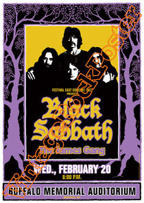 black sabbath, Ozzy Osbourne, Tony Iommi, Ronnie James Dio,poster,manifesto,affiche,concert,the james gang,buffalo,1974,concert,live show
