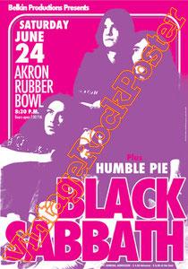 black sabbath, Ozzy Osbourne, Tony Iommi, Ronnie James Dio,poster,manifesto,affiche,concert,humble pie,akron,1972