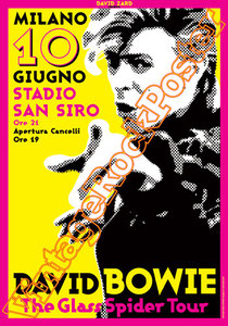 david bowie, ziggy stardust,bowie,glam rock, velvet goldmine, vintage rock posters, poster, milano, italy,glass spider tour,1987, china girl