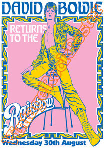 david bowie, ziggy stardust,bowie,glam rock, velvet goldmine, vintage rock posters, poster, london,Rainbow theatre,spiders from mars,1973