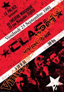 clash,joe strummer,Mick Jones, Paul Simonon, Topper, Nick Headon, punk, emo, rock in the cashba, sandinista, new punk, poster, affiche, vintage rock poster, paris, france,le palace, theatre mocador,81