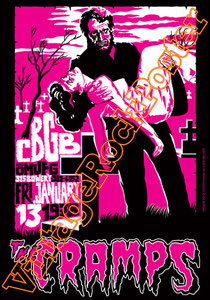 Cramps,Rockabilly,cbgb club,new york,los angeles,, new punk, poster, affiche, vintage rock poster,