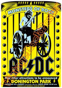 acdc,angus young,bon scott,phil rudd,mark evans,poster, affiche,cartaz,cartel,karte,manifesto,locandina,donington,monsters of rock