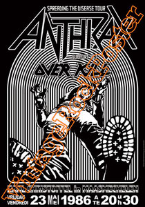 anthrax,classic rock,heavy metal,over kill,dan lilker,scott Ian,kenny kushner,neil turbin,dave weiss,john connelly,concert, poster, vintage rock posters, manifesto, locandina, cartaz,cartel,karte