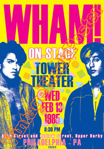 wham,George Michael, Andrew Ridgeley, Dee C. Lee, Shirley Holliman, Pepsi DeMacque,pepsy & shirley,paninaro,anni 80,80s,pop music, disco music, gay,homosexual,philadelphia, wham poster,wham concert