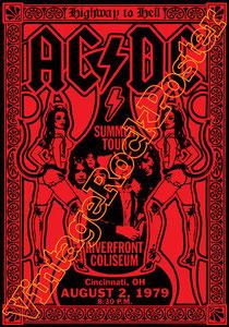 acdc,angus young,bon scott,phil rudd,mark evans,poster, affiche,cartaz,cartel,karte,manifesto,locandina,cincinnati,riverfront coliseum,1979,concert,tour,metal,hard rock,classic rock,ac dc summer tour