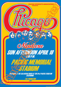 chicago, Robert Lamm, James Pankow, Lee Loughnane,concert,live show,chicago band poster,pacific memorial stadium,1971,stockton