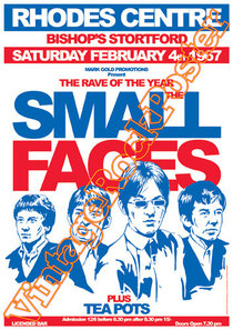 small faces, Steve Marriott, Ronnie Lane, Kenney Jones, Ian McLagan, Jimmy Winston, Jimmy McCulloch, Rick Wills,rhodes centre,bishops stortford,1967,small faces poster,small faces concert,tea pots ban