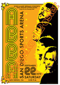 Björn Ulvaeus, Benny Andersson, Agnetha Fältskog,Anni-Frid Lyngstad, abba,san diego sports arena, 1979,abba concert,abba gold,tour,concert,concerto,live,poster,manifesto,locandina,affiche,karte,usa