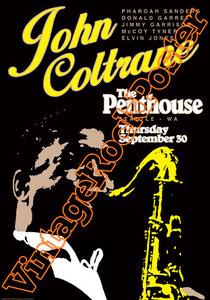 john coltrane, trumphet, tromba, jazz, poster, manifesto,locandina,the penthouse,donald garrett,phardam sanders,mc coy,elvis jones,orchestra,vintage rock posters