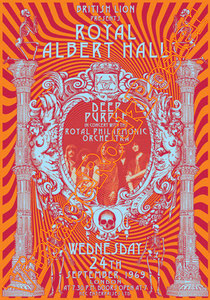 deep purple,Ian Gillan, Rod Evans, David Coverdale, Joe Lynn Turner, classic rock, psychedelic, psichedelia, rock,american , british rock, dark,gothic,concert,poster,london,Royal albert hall,1969