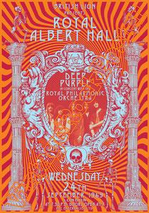 deep purple,Ian Gillan, Rod Evans, David Coverdale, Joe Lynn Turner, classic rock, psychedelic, psichedelia, rock,american , british rock, dark,gothic,concert,poster,london,Royal albert hall,1969