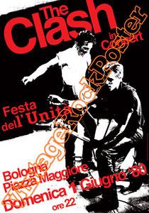 clash,joe strummer,Mick Jones, Paul Simonon, Topper, Nick Headon, punk, emo, rock in the cashba, sandinista, new punk, poster, affiche, vintage rock poster, bologna, italy,piazza maggiore bologna, 198