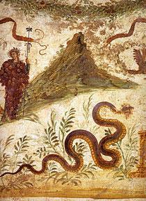 Raffigurazione di Bacco e del Vesuvio in un affresco pompeiano precedente al 79 d. C.