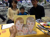 似顔絵 富山 イベント出張 家族